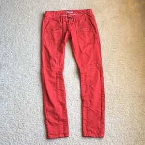 Red FREE PEOPLE jeans zip pockets